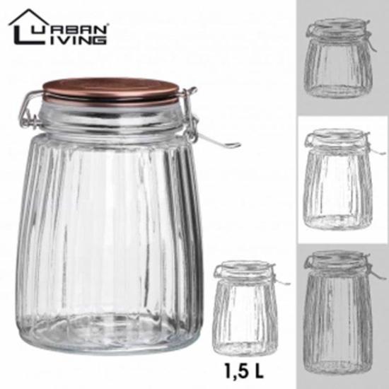 Picture of Jar Glass Rose Gold Lid 1.5ltr