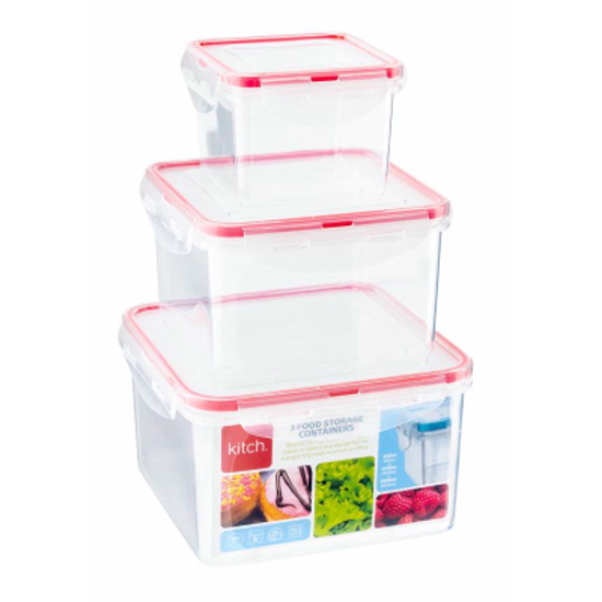 Picture of Kitch 3 Square Containers 200/400/1200ml