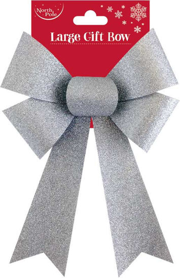 Large Silver Glitter Bow