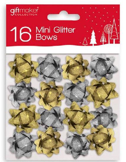 Mini Glitter Bows Gold/Silver