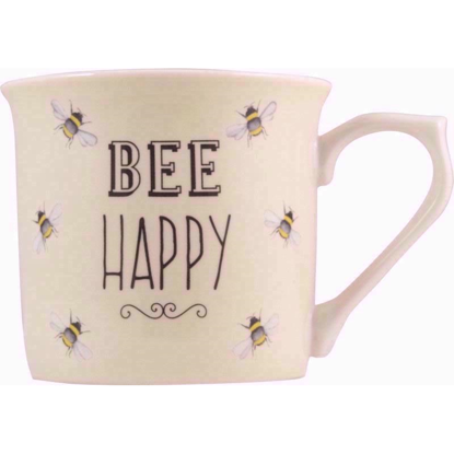 Bee Happy Fine China Mug (Cream)