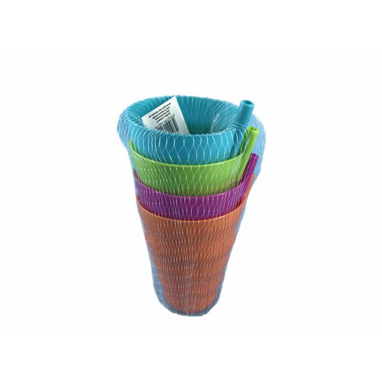 Plastic Tumbler with Straw Colourful (Pack of 4)